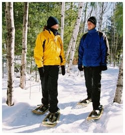 Two people in a forest snowshoeing
