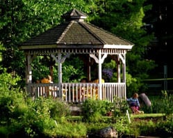 People sitting in a gazebo